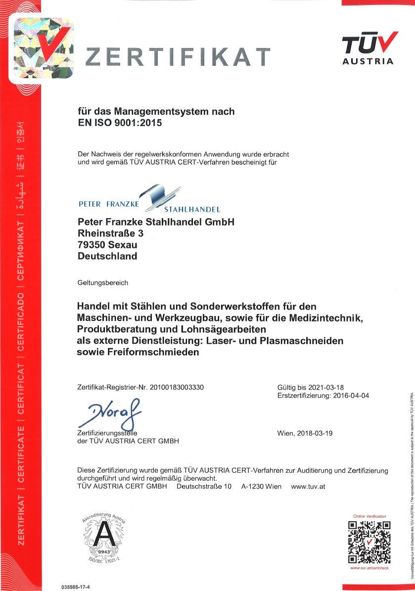 Din ISO 9001 Zertifizierung Peter Franzke Stahlhandel GmbH
